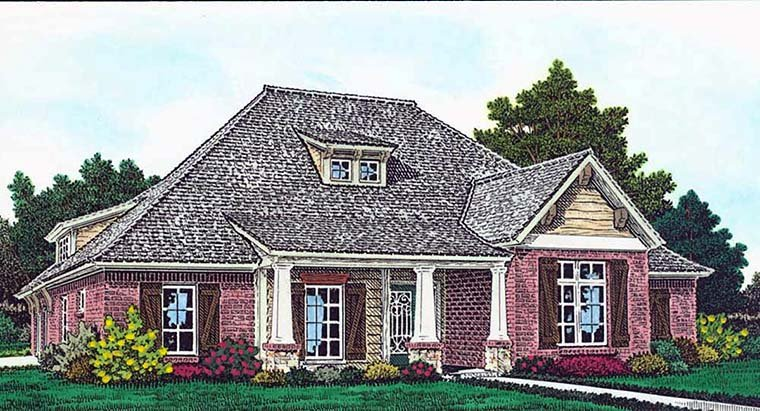 Cottage, Country, Craftsman, French Country House Plan 96333 with 4 Beds, 4 Baths, 3 Car Garage Elevation