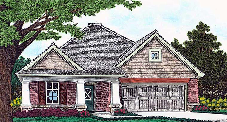 Cottage Country Craftsman House Plan 96335 Elevation