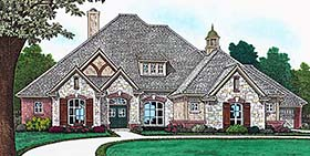 House Plan 96336 | European French Country Style Plan with 2614 Sq Ft, 4 Bedrooms, 4 Bathrooms, 4 Car Garage Elevation