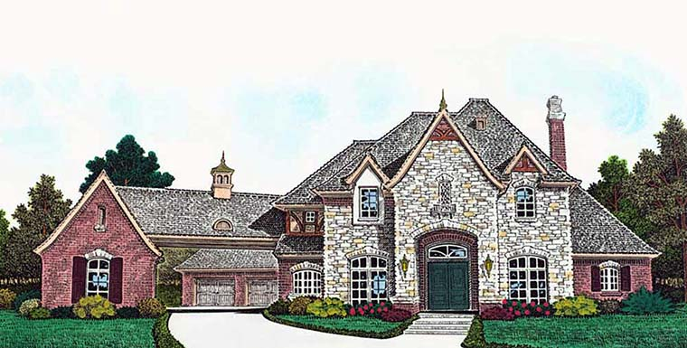 European, French Country House Plan 96337 with 4 Beds, 5 Baths, 4 Car Garage Elevation
