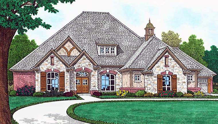 European, French Country House Plan 96338 with 4 Beds, 4 Baths, 3 Car Garage Front Elevation