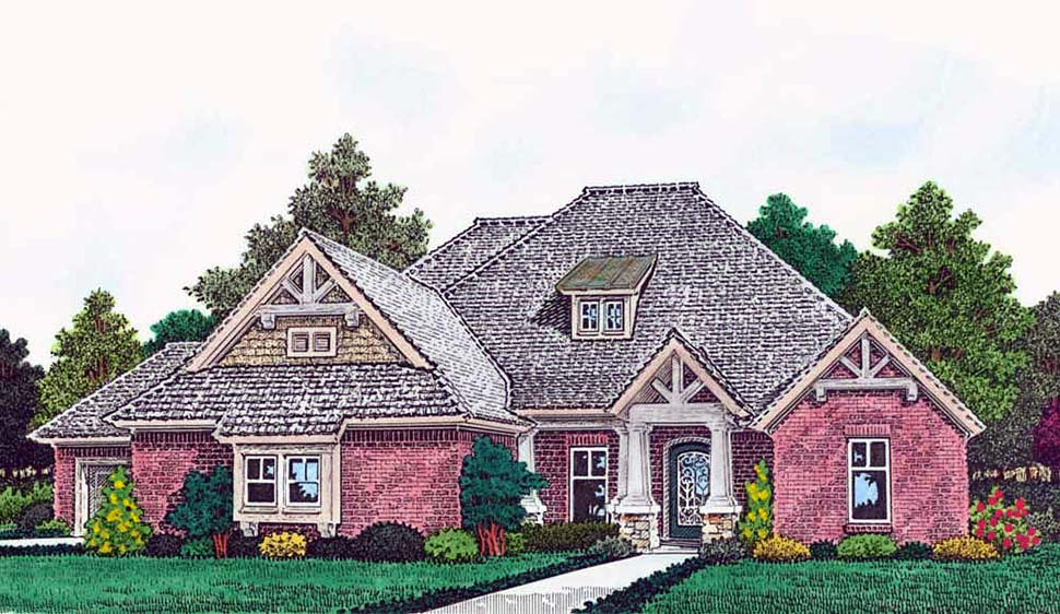 Country, European, French Country House Plan 96344 with 3 Beds, 4 Baths, 3 Car Garage Elevation
