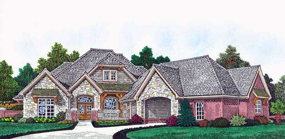 Craftsman , European , French Country House Plan 96345 with 4 Beds, 6 Baths, 4 Car Garage Elevation