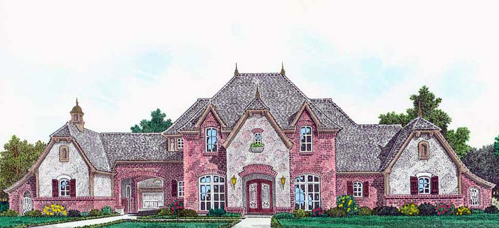 European, French Country, Traditional House Plan 96348 with 3 Beds, 3 Baths, 3 Car Garage Elevation