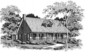 Cape Cod, Country, One-Story House Plan 96502 with 3 Beds, 3 Baths, 2 Car Garage Elevation