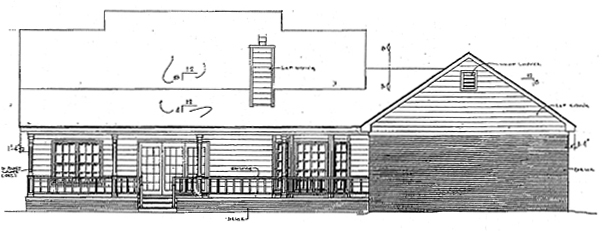 Country , Rear Elevation of Plan 96505