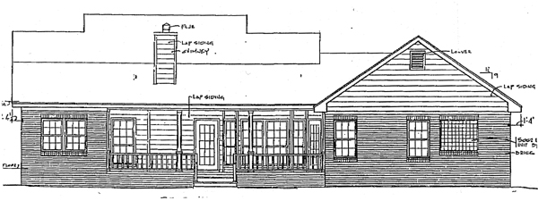 Country House Plan 96506 with 3 Beds, 3 Baths, 2 Car Garage Rear Elevation