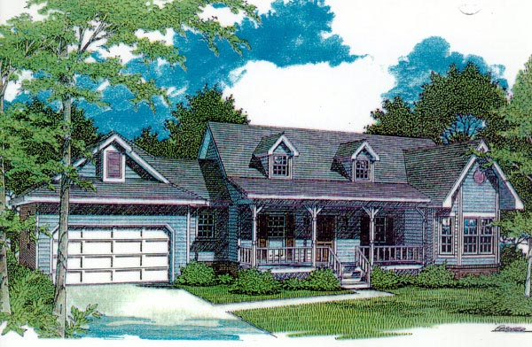 Country One-Story Elevation of Plan 96513