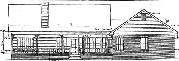 Country One-Story Rear Elevation of Plan 96513