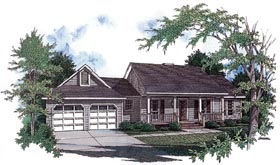 Country , One-Story , Ranch House Plan 96516 with 3 Beds, 2 Baths, 2 Car Garage Elevation