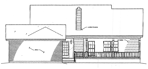 Bungalow One-Story Rear Elevation of Plan 96517