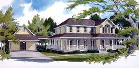 House Plan 96520 | Country Farmhouse Style Plan with 2558 Sq Ft, 4 Bedrooms, 3 Bathrooms, 2 Car Garage Elevation