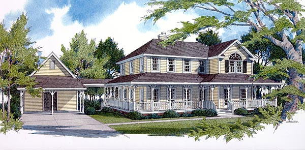 Country, Farmhouse House Plan 96520 with 4 Beds, 3 Baths, 2 Car Garage Elevation