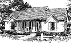 Country One-Story Ranch Elevation of Plan 96522