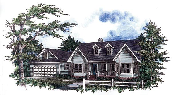 Cape Cod, Country, One-Story House Plan 96523 with 3 Beds, 2 Baths, 2 Car Garage Elevation