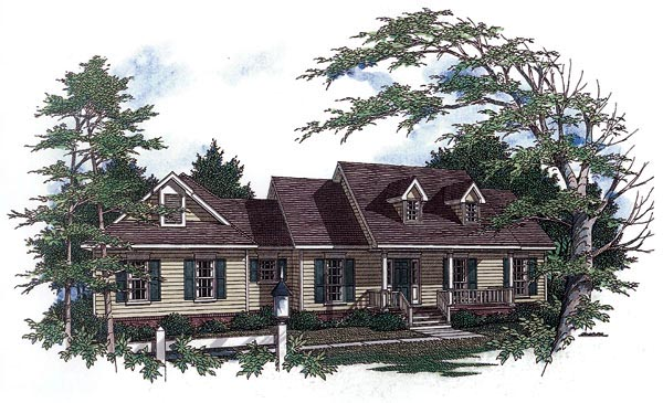 Country One-Story Elevation of Plan 96525