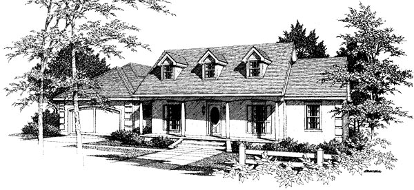 House Plan 96526 | Cape Cod Country Style Plan with 1843 Sq Ft, 3 Bedrooms, 3 Bathrooms, 2 Car Garage Elevation