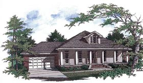 Colonial , European House Plan 96527 with 3 Beds, 2 Baths, 2 Car Garage Elevation