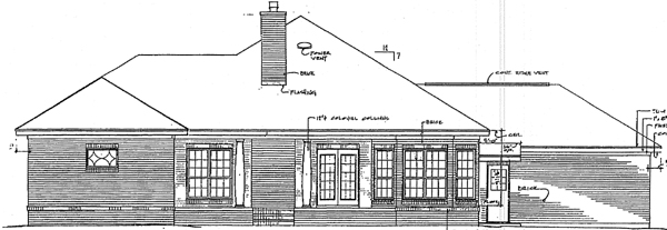 Colonial , European , Rear Elevation of Plan 96527