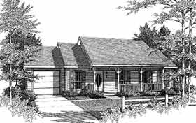 Ranch House Plan 96538 with 3 Beds, 2 Baths, 1 Car Garage Elevation