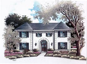 House Plan 96540 | Colonial European Style Plan with 2599 Sq Ft, 4 Bedrooms, 4 Bathrooms, 2 Car Garage Elevation
