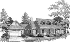 House Plan 96542 | Cape Cod Country Style Plan with 1594 Sq Ft, 3 Bed, 2 Bath, 1 Car Garage Elevation