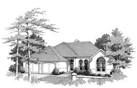 European House Plan 96543 with 3 Beds, 2 Baths, 2 Car Garage Elevation