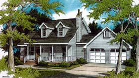 House Plan 96544 | Cape Cod Country Style Plan with 1925 Sq Ft, 3 Bedrooms, 3 Bathrooms, 2 Car Garage Elevation