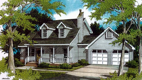 Cape Cod Country Elevation of Plan 96544