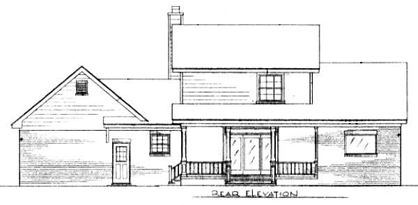 Cape Cod Country Rear Elevation of Plan 96544