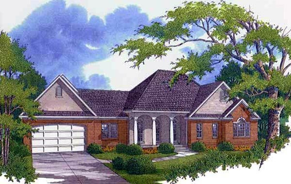 Traditional House Plan 96552 with 4 Beds, 4 Baths, 2 Car Garage Elevation