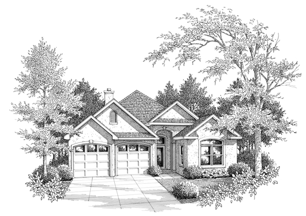 European Narrow Lot One-Story Elevation of Plan 96554