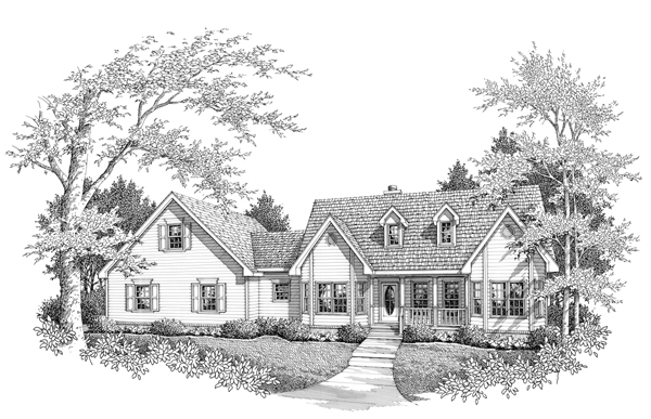 Farmhouse, One-Story House Plan 96555 with 3 Beds, 2 Baths, 2 Car Garage Elevation