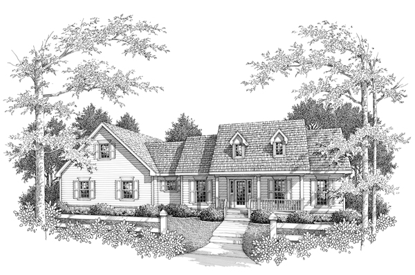 House Plan 96556 | Farmhouse Style Plan with 1841 Sq Ft, 3 Bed, 3 Bath, 2 Car Garage Elevation