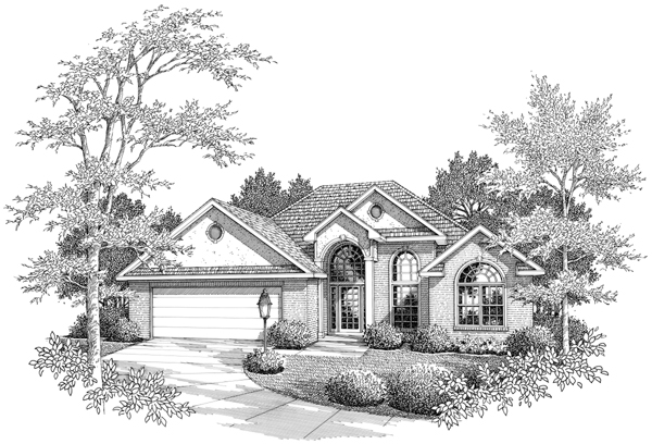 European House Plan 96557 with 3 Beds, 3 Baths, 2 Car Garage Elevation