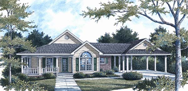 Farmhouse, One-Story, Traditional House Plan 96561 with 3 Beds, 2 Baths, 2 Car Garage Front Elevation