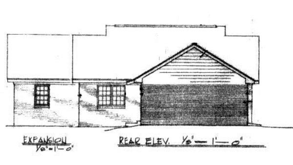 Craftsman Traditional Rear Elevation of Plan 96562