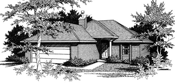 Narrow Lot, One-Story, Traditional House Plan 96566 with 2 Beds, 2 Baths, 2 Car Garage Elevation