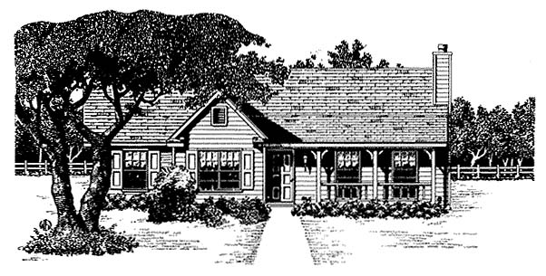 Country, One-Story House Plan 96567 with 3 Beds, 2 Baths, 2 Car Garage Elevation