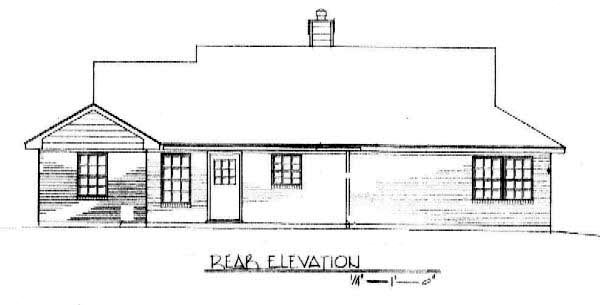 One-Story Ranch Rear Elevation of Plan 96568