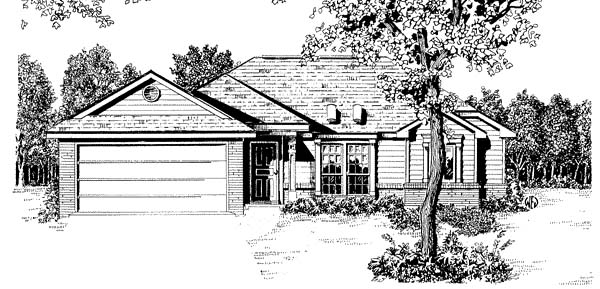 One-Story, Traditional House Plan 96569 with 2 Beds, 2 Baths, 2 Car Garage Elevation