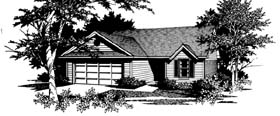 House Plan 96570 | Ranch, Traditional Style House Plan with 1404 Sq Ft, 3 Bed, 2 Bath Elevation