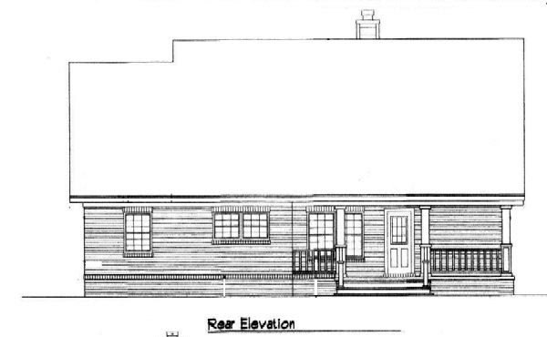 Country Rear Elevation of Plan 96574