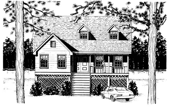 Cape Cod Coastal Country Narrow Lot Elevation of Plan 96576