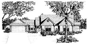 Traditional House Plan 96578 with 3 Beds, 2 Baths, 2 Car Garage Elevation