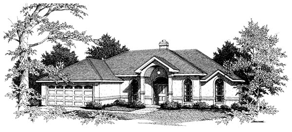 Mediterranean, One-Story House Plan 96579 with 3 Beds, 2 Baths, 2 Car Garage Elevation