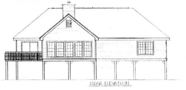 Coastal , Rear Elevation of Plan 96582