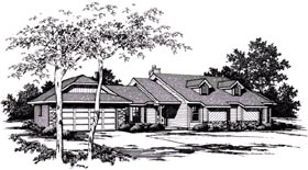 House Plan 96583 | Contemporary Style Plan with 1997 Sq Ft, 3 Bedrooms, 2 Bathrooms, 2 Car Garage Elevation