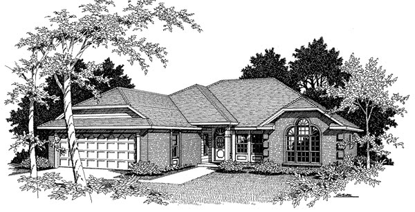 European House Plan 96584 with 3 Beds, 2 Baths, 2 Car Garage Elevation