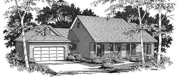 House Plan 96586 | Ranch Style Plan with 2085 Sq Ft, 3 Bed, 2.5 Bath, 2 Car Garage Elevation